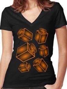 1 x 1 Bricks (AKA Falling Bricks) Women's Fitted V-Neck T-Shirt