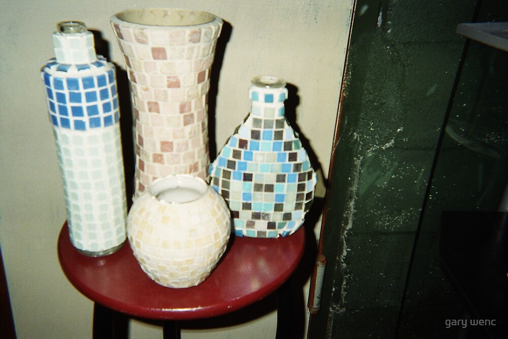 mosaic  bottles by gary wenc