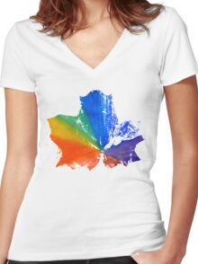 Imprint of Maple Leaf Women's Fitted V-Neck T-Shirt