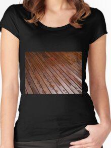 Beautiful mahogny hardwood floor Women's Fitted Scoop T-Shirt
