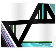 Mannaz man abstract black white blue green  Poster
