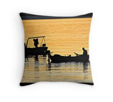Squid fishing Throw Pillow