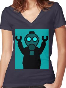 Apocalyse Minifigure wearing Gasmask Women's Fitted V-Neck T-Shirt
