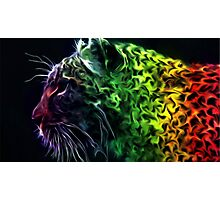 Abstract Neon Rainbow Cheetah Cat Wildlife Photographic Print