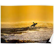 Bells Beach Golden Silhouette Poster
