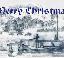 Romanian Ancient Family Rowing Barge - Christmas Card by Dennis Melling