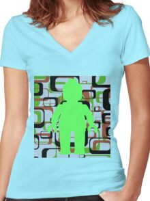 Retro Minifig Art Women's Fitted V-Neck T-Shirt