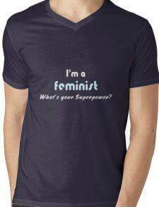 Feminist Superpower slogan white blue Mens V-Neck T-Shirt