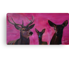 Winters Deer Family with Fawn and Hind Canvas Print