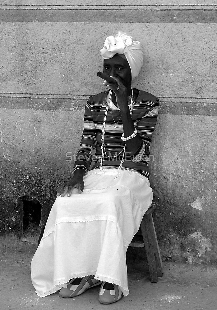 woman with cigar by Steven McEwan