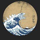 Hokusai Godzilla - Vintage Version by Mdk7