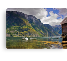 Clear water of fjords Canvas Print