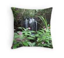 Flowers & Waterfall at Paronella Park Queensland Throw Pillow