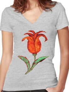 Painted Orange Tulip Women's Fitted V-Neck T-Shirt