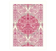 Happy Place Doodle in Berry Pink, Cream & Mauve Art Print