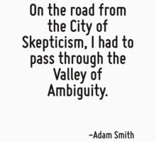 On the road from the City of Skepticism, I had to pass through the Valley of Ambiguity. T-Shirt