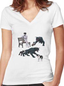 Gozer at the Dog Park Women's Fitted V-Neck T-Shirt