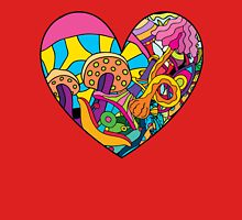 Magic mushroom pattern hippie heart  Unisex T-Shirt