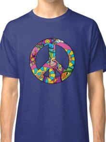 Magic mushroom pattern hippie peace symbol  Classic T-Shirt