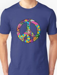 Magic mushroom pattern hippie peace symbol  T-Shirt