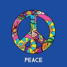 Magic mushroom pattern hippie peace symbol  by Andrei Verner