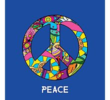 Magic mushroom pattern hippie peace symbol  Photographic Print