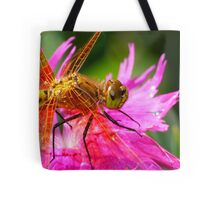 Dragonfly, Orange on Electric Pink Tote Bag