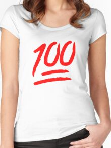 100 [Red] Women's Fitted Scoop T-Shirt