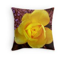Wet Yellow Rose Throw Pillow