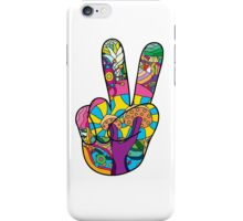 Magic mushroom pattern hippie victory hand  iPhone Case/Skin