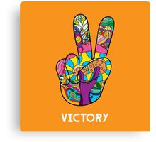 Magic mushroom pattern hippie victory hand  Canvas Print