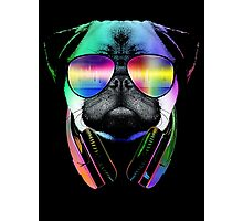 Music Love Pug Photographic Print