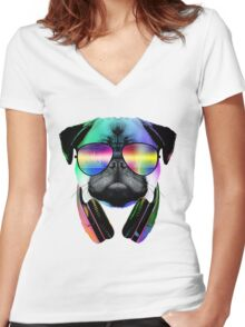 Music Love Pug Women's Fitted V-Neck T-Shirt