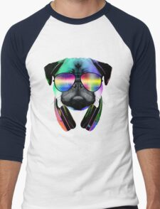 Music Love Pug Men's Baseball ¾ T-Shirt