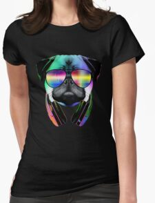 Music Love Pug Womens Fitted T-Shirt