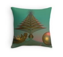 3D Christmas tree and ball with fractal object Throw Pillow