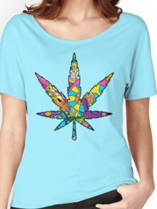 Magic mushroom pattern hippie marijuana leaf symbol  Women's Relaxed Fit T-Shirt