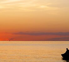 Fisherman At Sunset by nalinmard