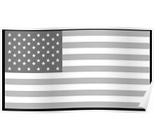 American Flag, Stars & Stripes, in Grey, USA, America, Pure & Simple Poster