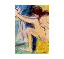 Woman drying her foot Art Print