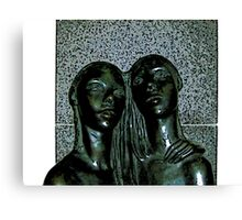 Comic Abstract Embrace Statue Canvas Print