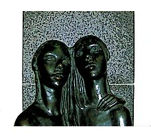 Comic Abstract Embrace Statue Photographic Print