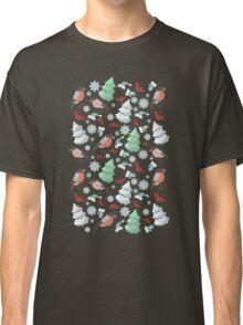 Winter birds blue pattern Classic T-Shirt