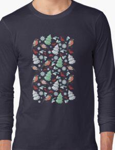 Winter birds blue pattern Long Sleeve T-Shirt