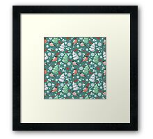 Winter birds blue pattern Framed Print