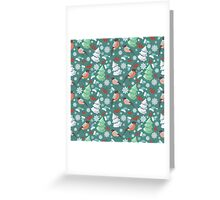 Winter birds blue pattern Greeting Card