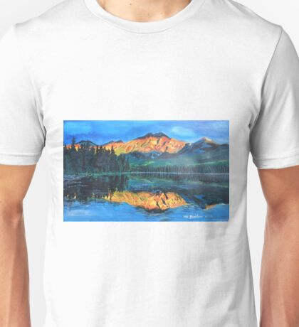 Mountain Jasper with reflection on Maligne Lake Unisex T-Shirt