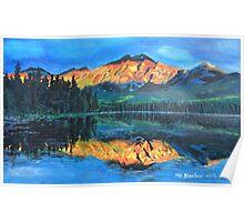 Mountain Jasper with reflection on Maligne Lake Poster
