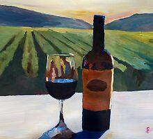 Napa Valley Wine Bottle with Red Wine by artshop77