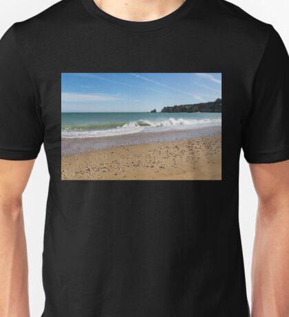 Ocean Waves Bounty - Beachcombers Treasures on Dona Ana Beach in Lagos Portugal   Unisex T-Shirt